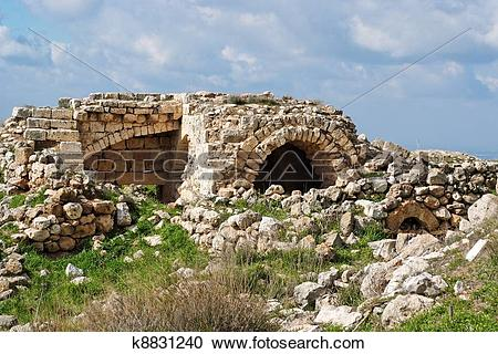 Stock Photography of Ruins of crusader castle Bayt Itab near.