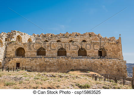 Stock Photo of Al Karak kerak crusader castle fortress Jordan.