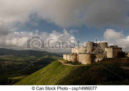 Picture of Krak des Chevaliers crusader castle in Syria.