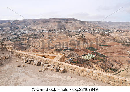 Stock Photo of View from Al Karak/Kerak Crusader Castle, Jordan.