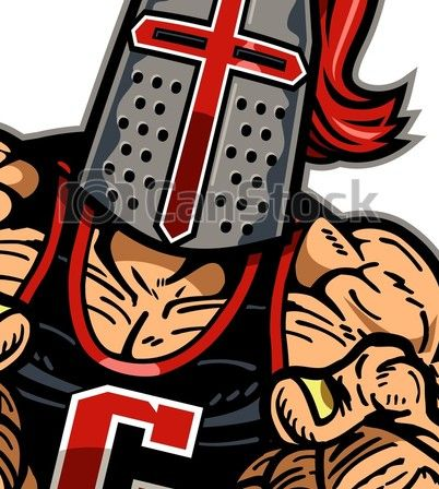 Muscular crusader mascot with fists up for school, college eps.