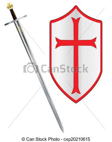 Vector Clip Art of Crusaders Sword and Shield.
