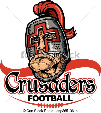 Vector Clip Art of crusaders football team design with mascot and.