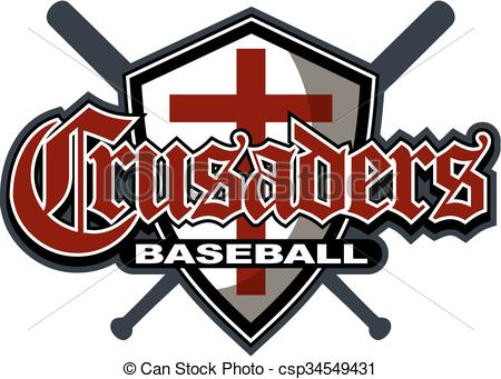 Vector of crusaders baseball team design with shield and crossed.