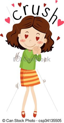 Vector Clipart of Girl having crush on someone illustration.
