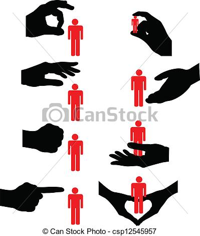 Clipart Vector of psychology, human, exclusion, crushed.