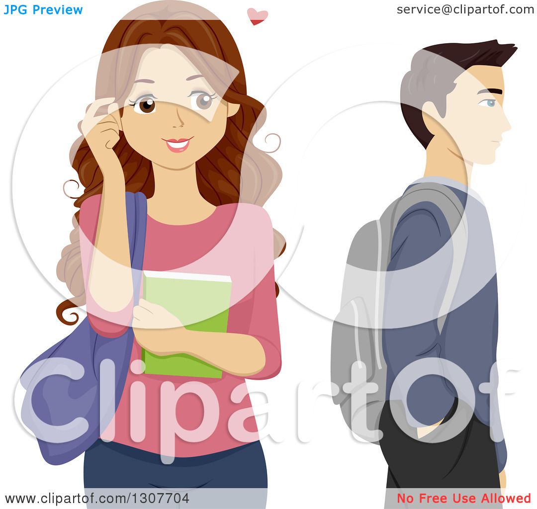 Clipart of a Brunette High School Teen Girl Crushing on a Male.
