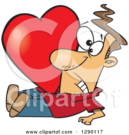 Cartoon Clipart of a Big Red Valentine Heart Crushing a Caucasian.