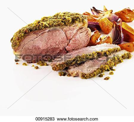 Stock Photo of Roast lamb with pesto chili crust 00915283.