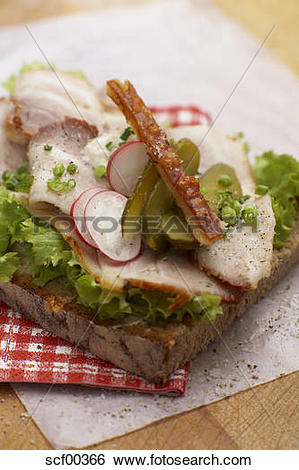 Stock Images of Sandwich with roast pork, crust, radish and chives.