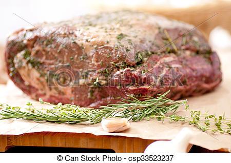 Stock Photos of raw beef rib roast.