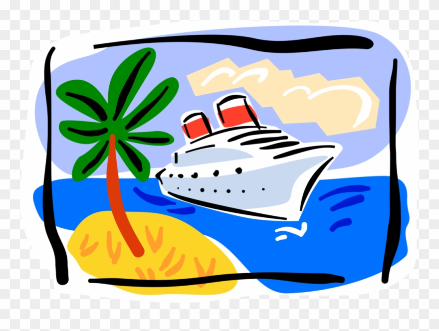 Vector Illustration Of Cruise Ship Or Cruise Liner.