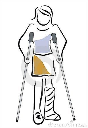 Girl clipart crutches.