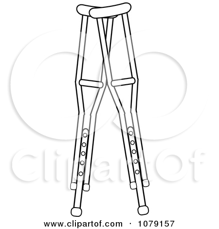 Clipart Stick Person Using Crutches.