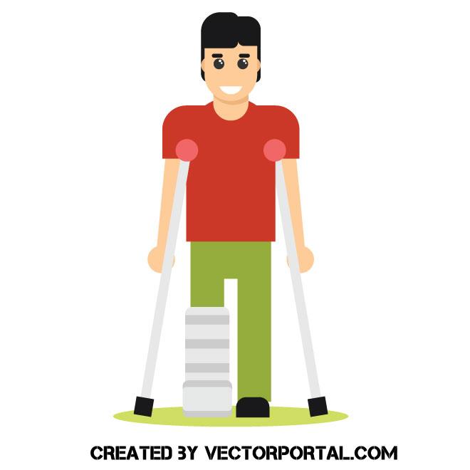 Man on crutches clip art.