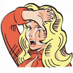 Comic Book Style Woman Crying.