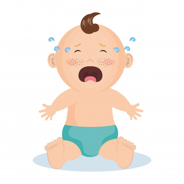 Crying baby boy with blue diaper Vector.