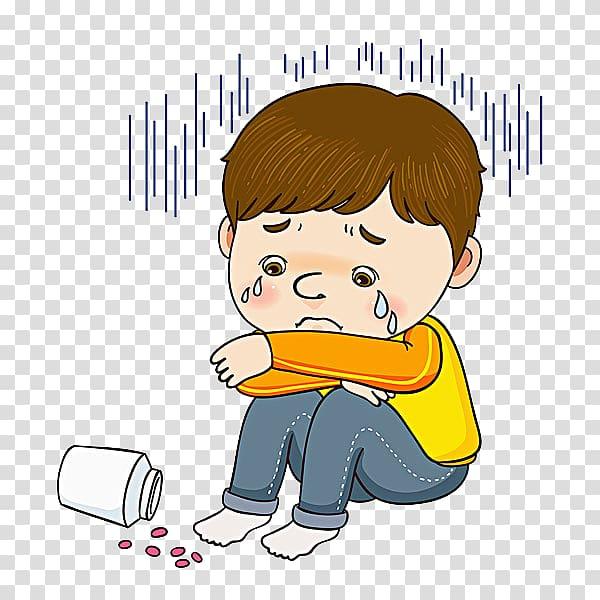 Crying boy illustration , The Crying Boy Cartoon footage, A crying.
