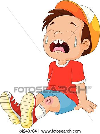 Cartoon crying boy with wounded leg Clipart.