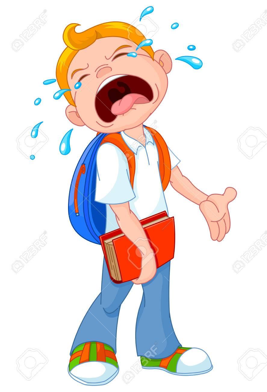 Illustration of crying boy walking to school.