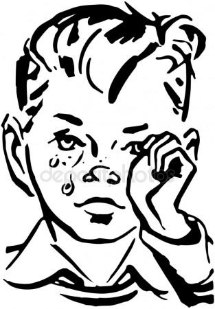 crying boy clipart black and white - Clipground