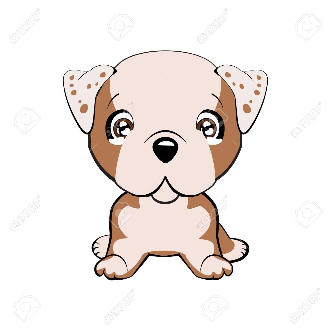 English bulldog. Vector illustration of cute dog in flat style...