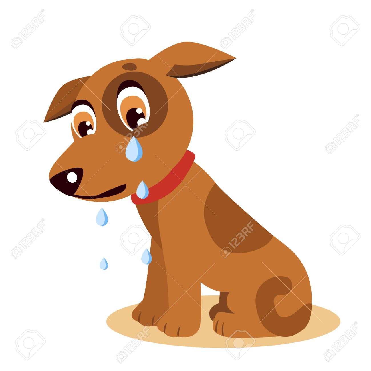 Sad Crying Dog Cartoon Vector Illustration. Dog With Tears. Crying...