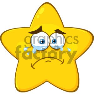 Royalty Free RF Clipart Illustration Crying Yellow Star Cartoon Emoji Face  Character With Tears Vector Illustration Isolated On White Background.
