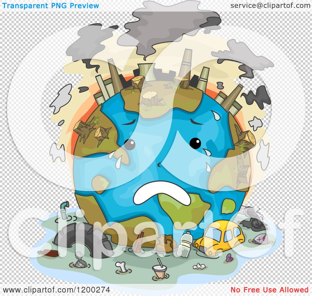 Cartoon of a Sad Polluted Earth Crying.