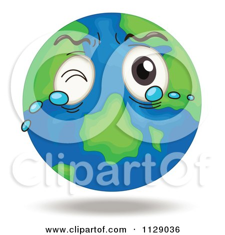 Cartoon Of A Crying Earth Globe Mascot.