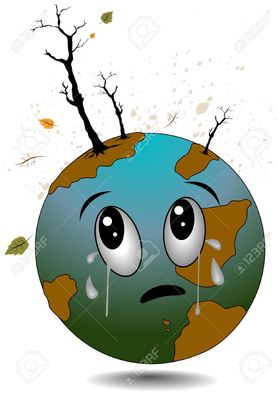 Crying Earth with Clipping Path.