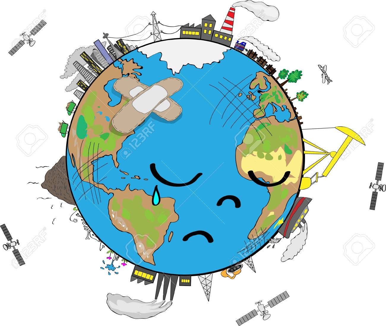 Sad Planet Earth cartoon.