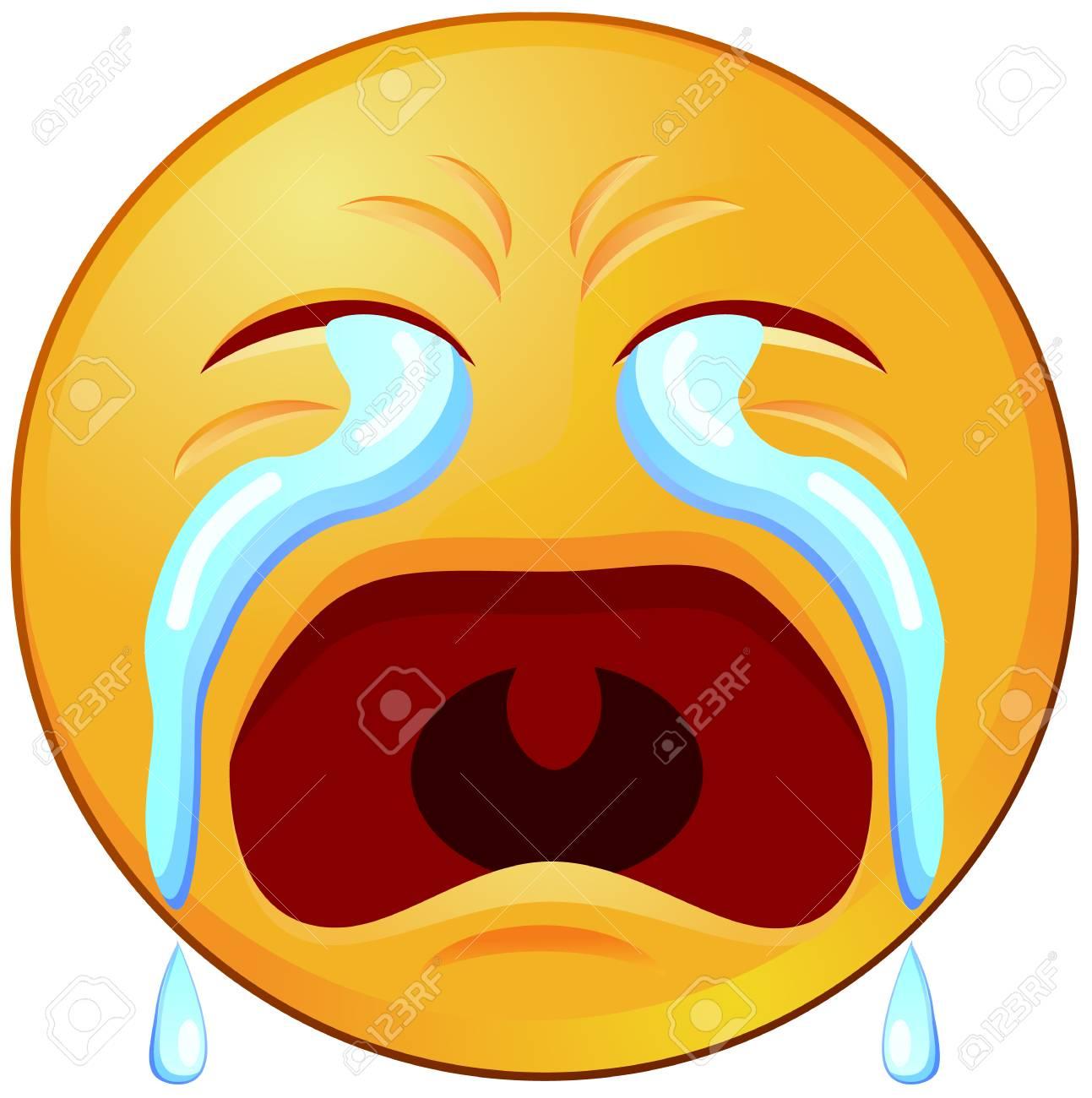 Crying emoji or emoticon vector icon.