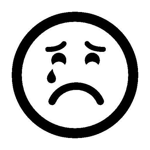 crying face clipart black and white - Clipground