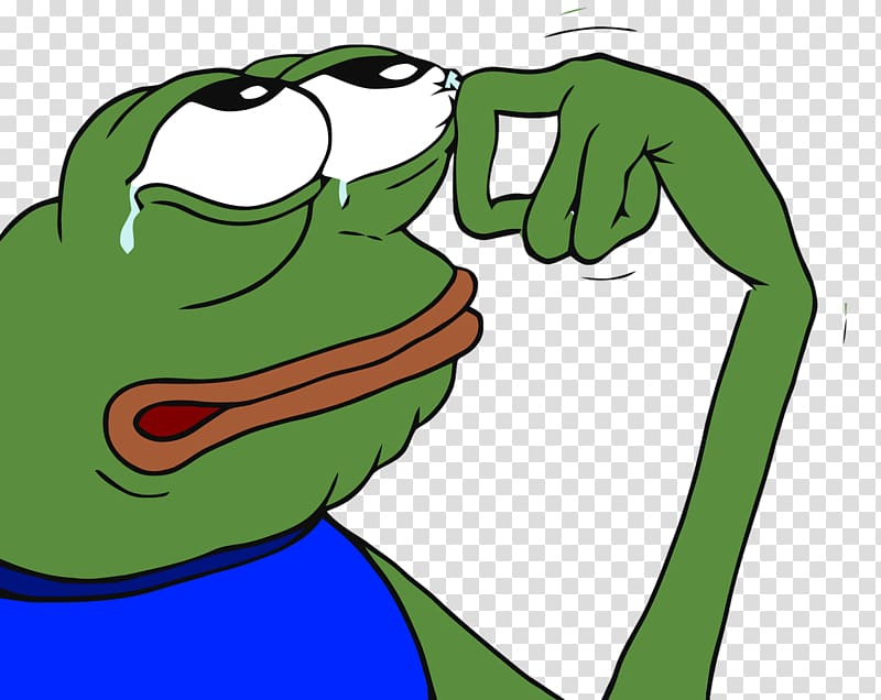 Pepe the Frog Internet meme Crying, feel in place transparent.