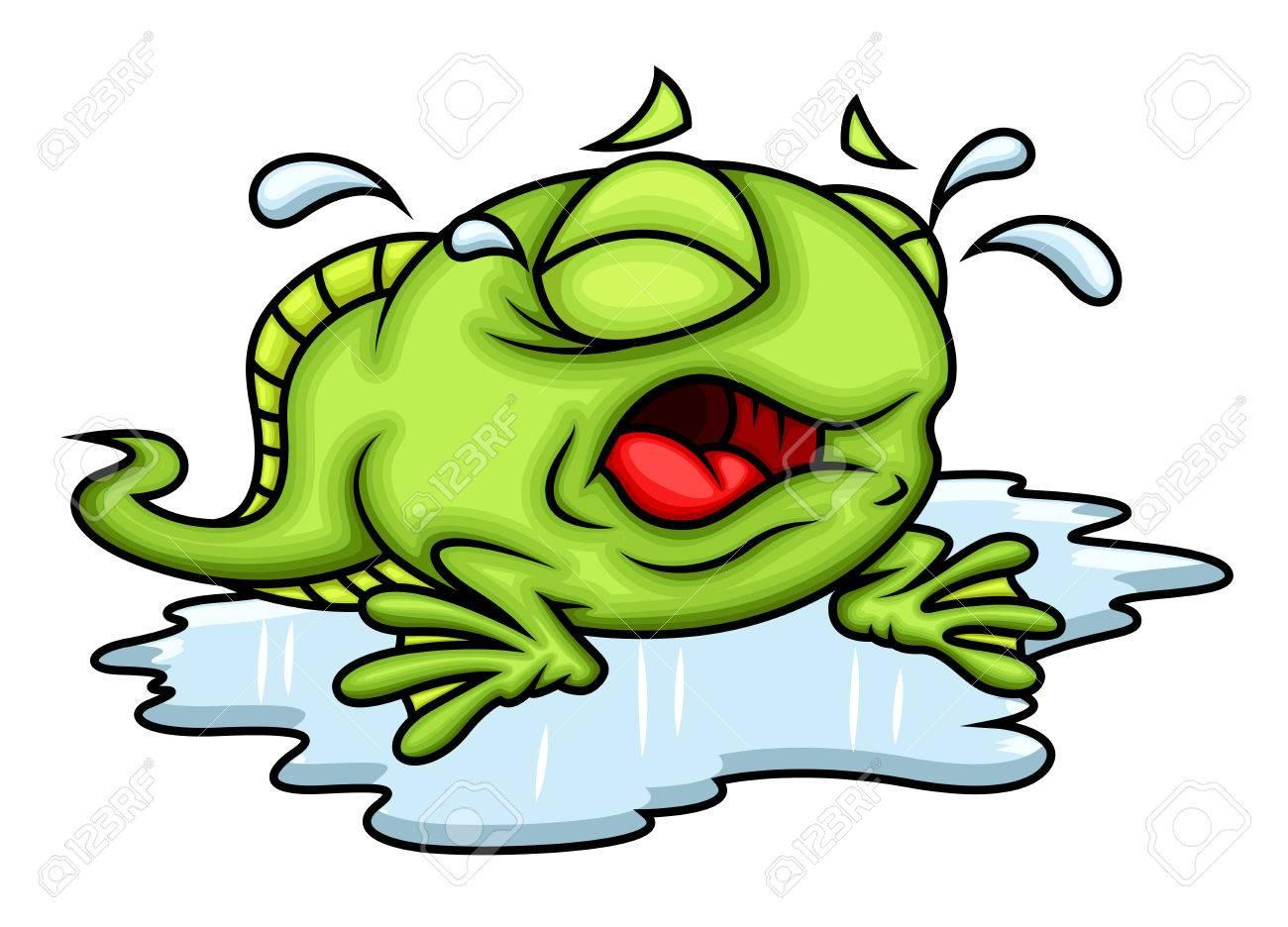 Cartoon Frog Crying.