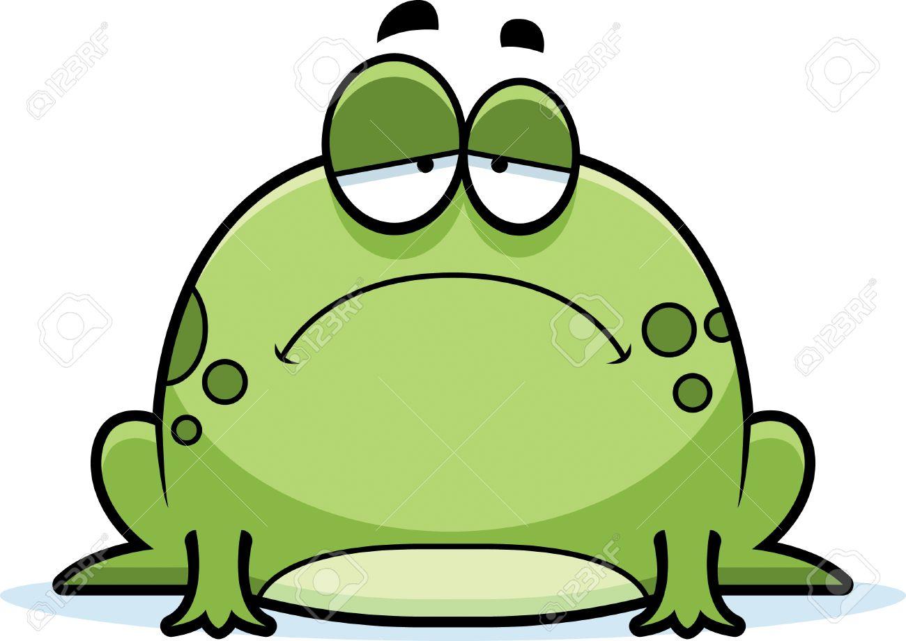 A cartoon illustration of a frog looking sad..