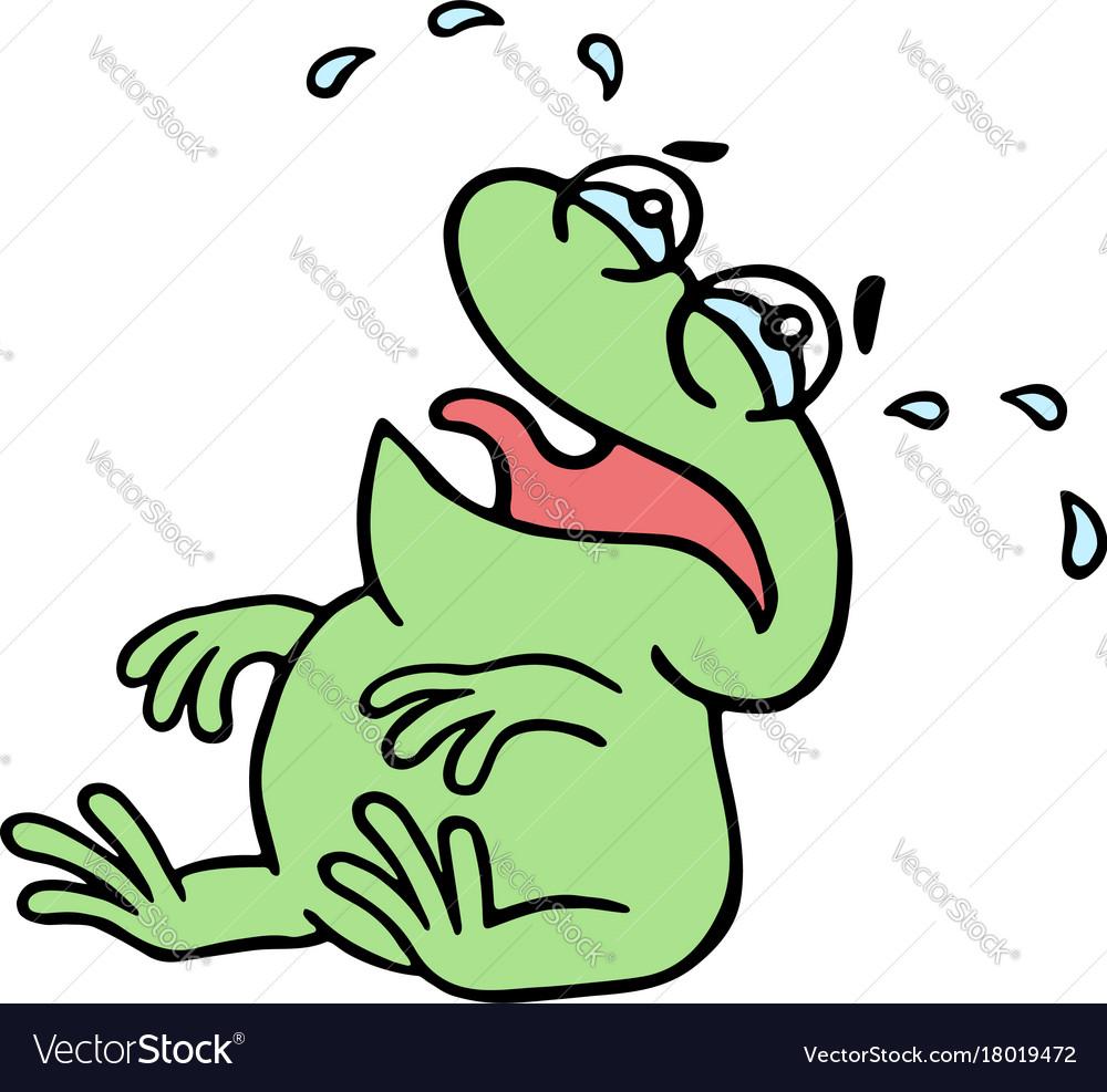 Cartoon crying green frogling.