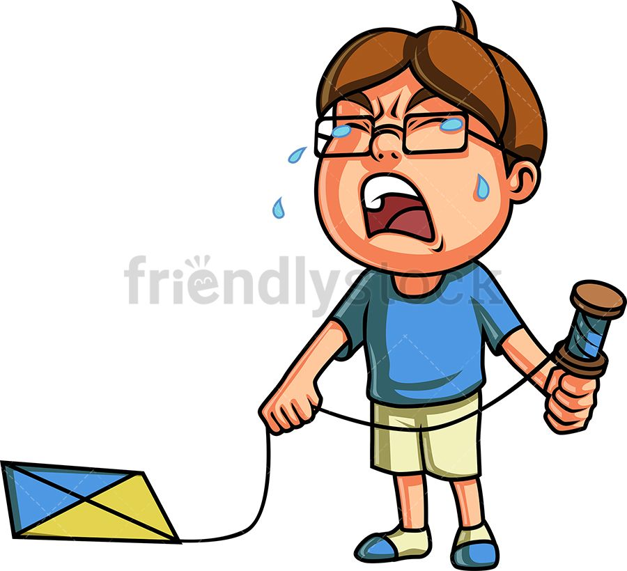 Crying Kid With Kite.