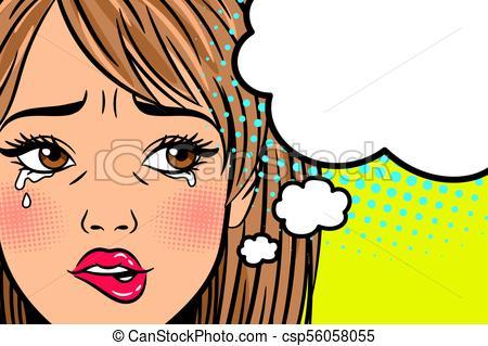 Cartoon crying woman.