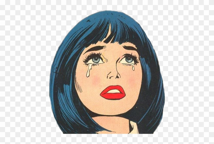 comic #girl #crying #blue #red.