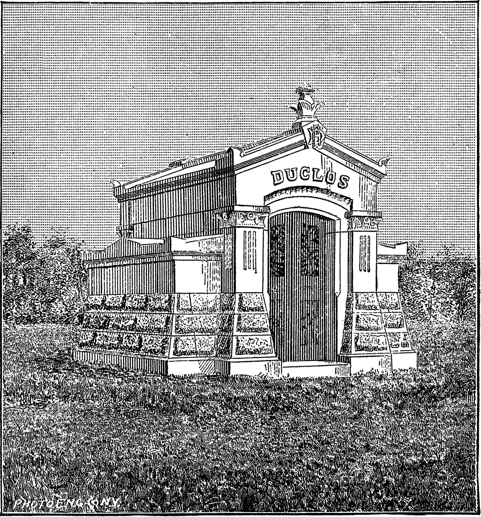 Vintage Mausoleum Clip Art.