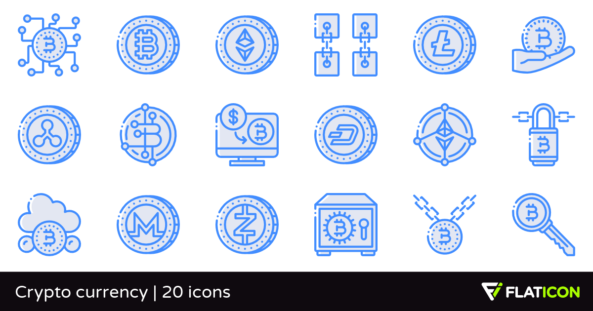 Crypto currency 20 free icons (SVG, EPS, PSD, PNG files).