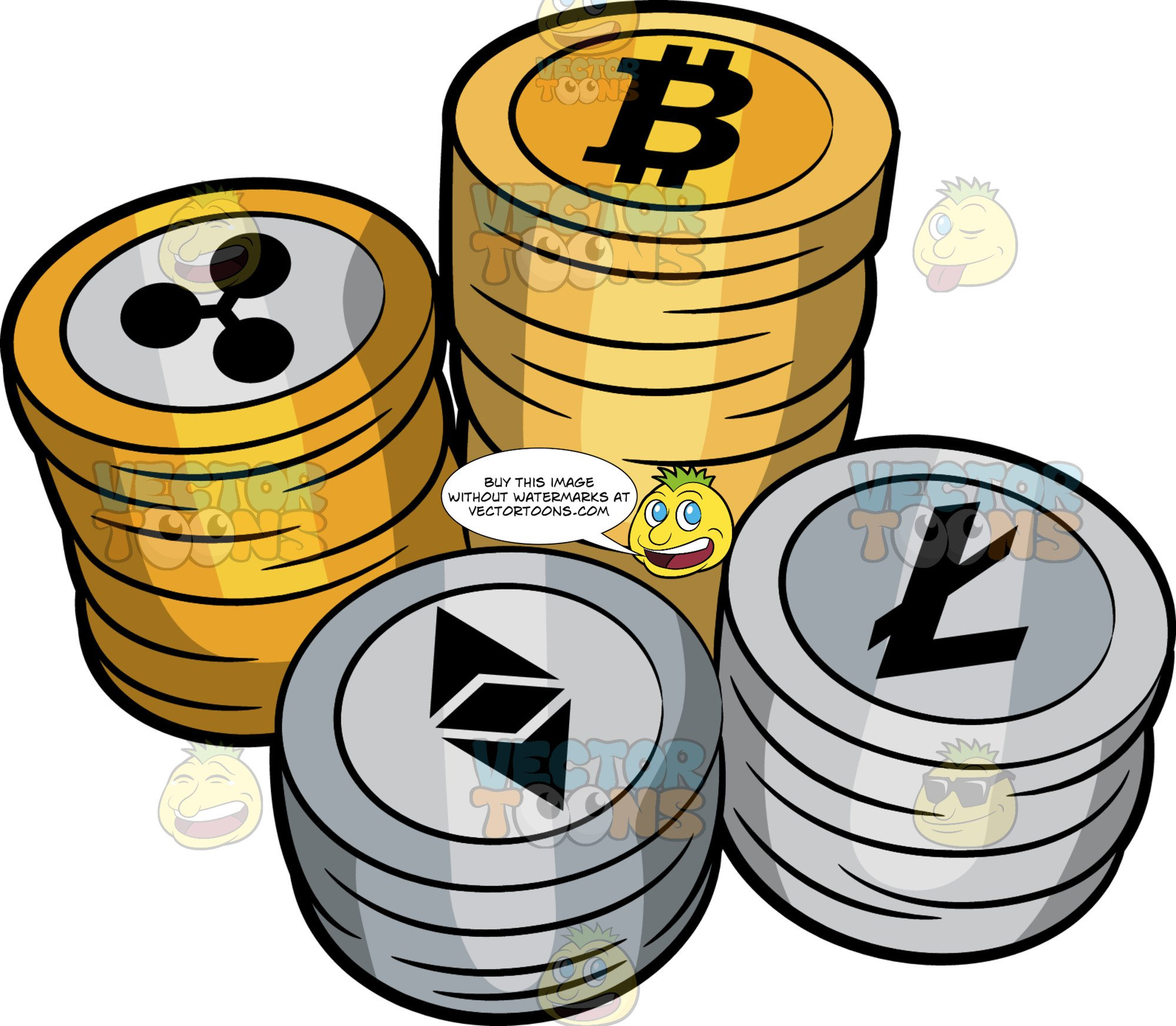 Stacks Of Cryptocurrency Coins.