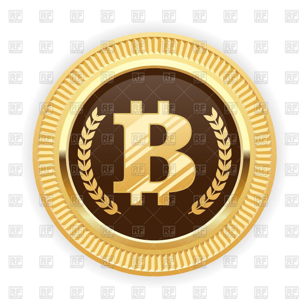 Bitcoin symbol on gold medal.