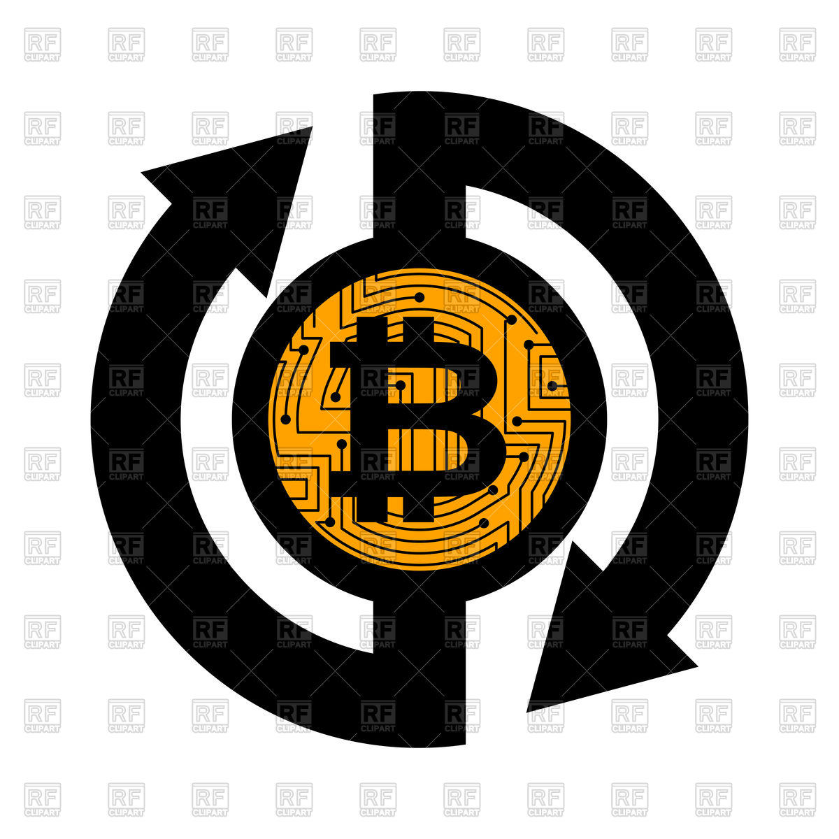 Exchange bitcoin sign, cryptocurrency Stock Vector Image.