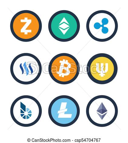 Cryptocurrency Different Coins Vector Illustration.