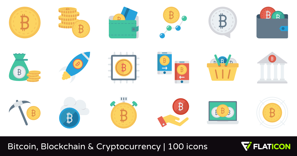 Bitcoin, Blockchain & Cryptocurrency 100 free icons (SVG, EPS, PSD.