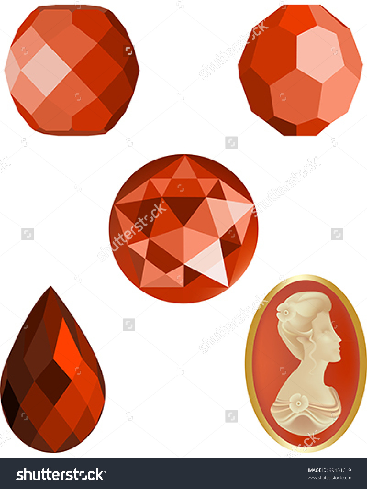 Faceted Coral Crystal Beads Four Faceted Stock Vector 99451619.