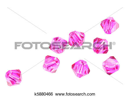 Stock Images of Pink crystal beads isolated k5880466.